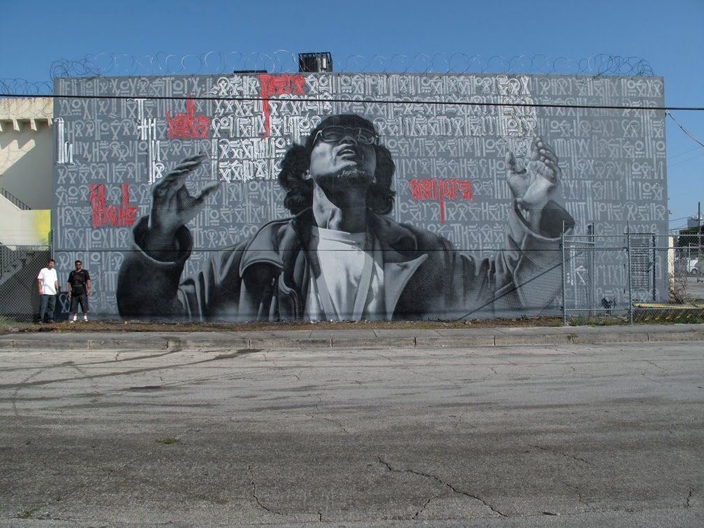 Visual therapy street mural el mac x retna for Mural street art